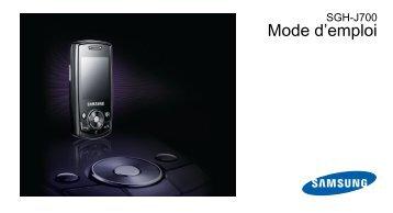Samsung Samsung J700 (SGH-J700HSGTL2 ) - Manuel de l'utilisateur 1.35 MB, pdf, Français