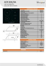 Whirlpool Piano cottura a induzione da 60 cm in vetroceramica nero ACM 808/BA - Scheda Tecnica_Italiano