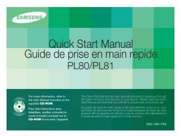 Samsung PL81 (EC-PL81ZZBPBE1 ) - Guide rapide 5.49 MB, pdf, Anglais, Français, Espagnol
