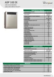Whirlpool Lavastoviglie a libera installazione, 12 coperti ADP 100 IX - Scheda Tecnica_Italiano
