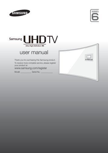 """Samsung TV LED 55"""", Incurvé, UHD/4K, Smart TV, 1100PQI - UE55JU6500 (UE55JU6500KXZF ) - Guide rapide 13.92 MB, pdf, Anglais, NÉERLANDAIS, Français, ALLEMAND"""