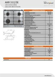 Whirlpool Piano cottura a gas da 60 cm in acciaio, Linea Affinity AKR 312/IX - Scheda Tecnica_Italiano