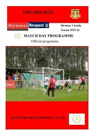 Sittingbourne FC Match Day Magazine 20th February 2016 v Three Bridges