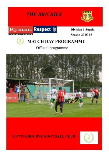 Sittingbourne FC Match Day Magazine 20th February 2016 v Three Bridges