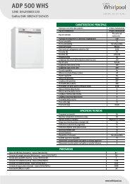 Whirlpool Lavastoviglie a libera installazione, 13 coperti, 6 programmi ADP 500 WHS - Scheda Tecnica_Italiano