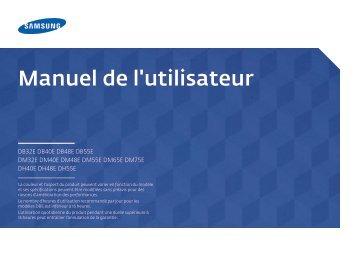 """Samsung Moniteur 40"""" - 450 cd/m² - DM40E (LH40DMEPLGC/EN ) - Manuel de l'utilisateur 5.13 MB, pdf, Français"""