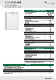 Whirlpool Lavastoviglie a libera installazione, 13 coperti, 10 programmi ADP 9060 WH - Scheda Tecnica_Italiano