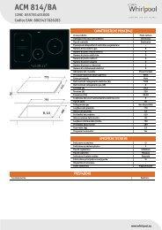 Whirlpool Piano cottura a induzione da 77 cm in vetroceramica nero ACM 814/BA - Scheda Tecnica_Italiano