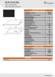 Whirlpool Piano cottura a induzione da 77 cm in vetroceramica nero ACM 849/BA - Scheda Tecnica_Italiano