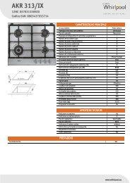 Whirlpool Piano cottura a gas da 60 cm in acciaio, Linea Affinity AKR 313/IX - Scheda Tecnica_Italiano