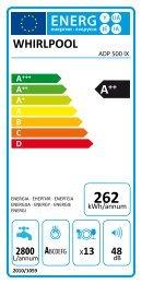 Whirlpool Lavastoviglie a libera installazione, 13 coperti ADP 500 IX - Etichetta energetica_Italiano