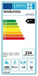 Whirlpool Lavastoviglie a libera installazione, 13 coperti, 10 programmi ADP 9060 IX ADP 9060 IX - Etichetta energetica_Italiano
