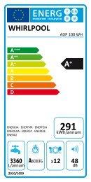 Whirlpool Lavastoviglie a libera installazione, 12 coperti ADP 100 WH - Etichetta energetica_Italiano