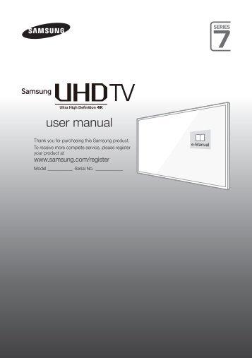 Samsung TV LED 40'', UHD/4K, Smart TV, 3D, 1300PQI - UE40JU7000 (UE40JU7000TXZF ) - Guide rapide 14.51 MB, pdf, Anglais, NÉERLANDAIS, Français, ALLEMAND