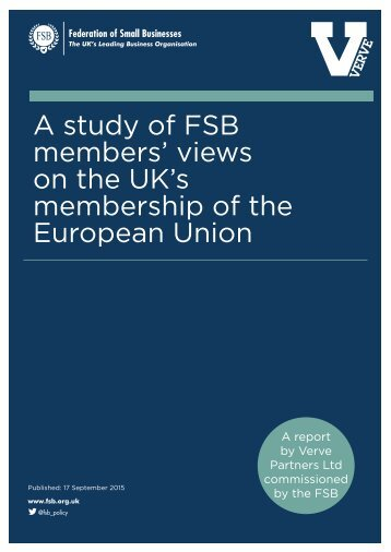 A study of FSB members' views on the UK's membership of the European Union