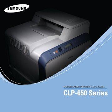 Samsung CLP-650 (CLP-650/SEE ) - Manuel de l'utilisateur 6 MB, PDF, Anglais