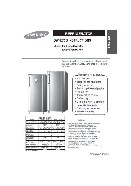 Samsung RA20VHSS (RA20VHSS1/CAF ) - Manuel de l'utilisateur