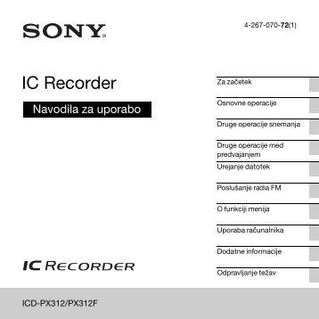 Sony ICD-PX312M - ICD-PX312M Consignes d'utilisation Slovénien