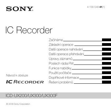 Sony ICD-UX300F - ICD-UX300F Consignes d'utilisation Tchèque