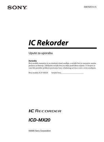 Sony ICD-MX20 - ICD-MX20 Mode d'emploi Français