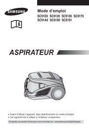 Samsung Aspirateur Sans Sac 1600 W 2 L Rouge SC91E0 (VCC91E0H3N/XEF ) - Manuel de l'utilisateur 2.79 MB, PDF, Français