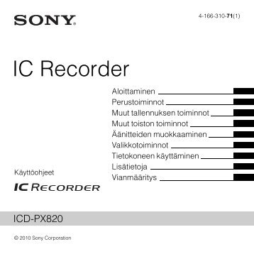 Sony ICD-PX820 - ICD-PX820 Consignes d'utilisation Finlandais