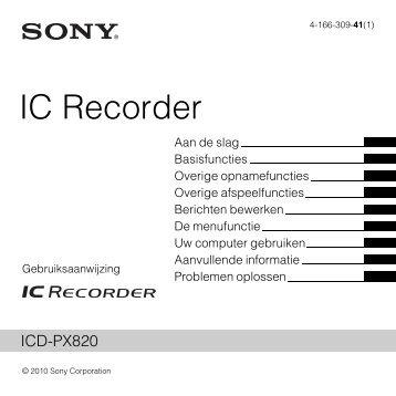 Sony ICD-PX820 - ICD-PX820 Consignes d'utilisation Néerlandais