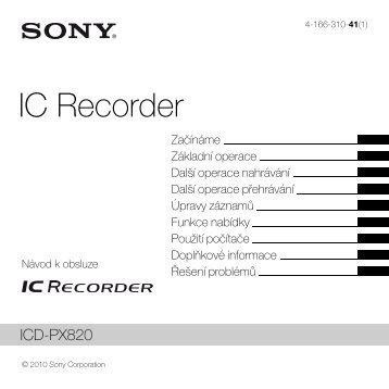 Sony ICD-PX820 - ICD-PX820 Consignes d'utilisation Tchèque