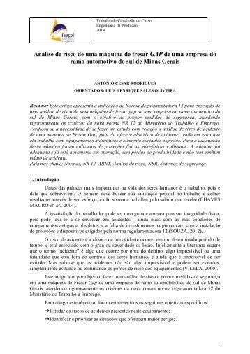 Análise de risco de uma máquina de fresar GAP de uma empresa do ramo automotivo do sul de Minas Gerais