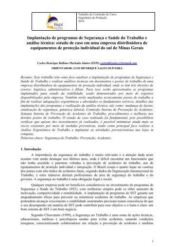 Implantação de programas de Segurança e Saúde do Trabalho e análise técnica: estudo de caso em uma empresa distribuidora de equipamentos de proteção individual do sul de Minas Gerais