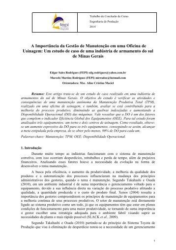 A Importância da Gestão de Manutenção em uma Oficina de Usinagem: Um estudo de caso de uma indústria de armamento do sul de Minas Gerais