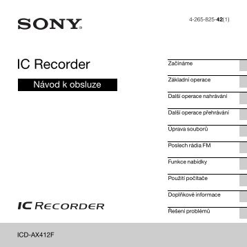 Sony ICD-AX412F - ICD-AX412F Consignes d'utilisation Tchèque