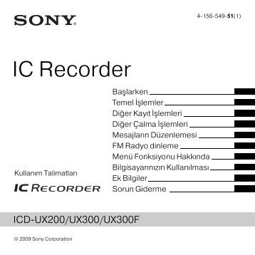Sony ICD-UX300 - ICD-UX300 Consignes d'utilisation Turc