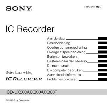 Sony ICD-UX300 - ICD-UX300 Consignes d'utilisation Néerlandais