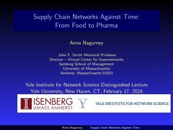 Supply Chain Networks Against Time From Food to Pharma