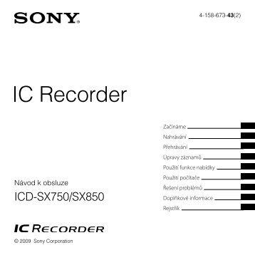 Sony ICD-SX850 - ICD-SX850 Consignes d'utilisation Tchèque