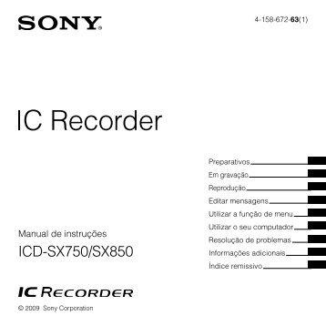 Sony ICD-SX850 - ICD-SX850 Consignes d'utilisation Portugais