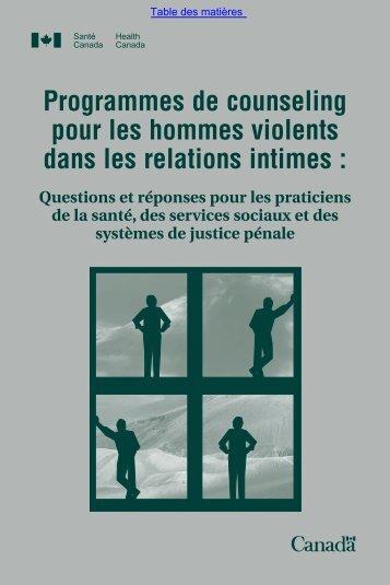 Programmes de counseling pour les hommes violents dans les ...