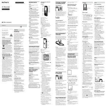 Sony ICD-BX112 - ICD-BX112 Consignes d'utilisation Suédois