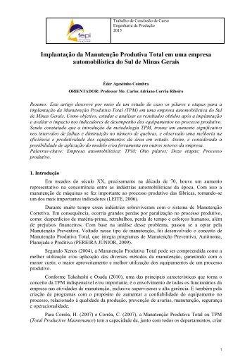 Implantação da Manutenção Produtiva Total em uma empresa automobilística do Sul de Minas Gerais