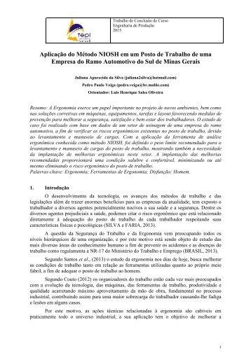 Aplicação do Método NIOSH em um Posto de Trabalho de uma Empresa do Ramo Automotivo do Sul de Minas Gerais