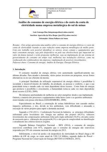 Análise do consumo de energia elétrica e do custo da conta de eletricidade numa empresa metalúrgica do sul de minas