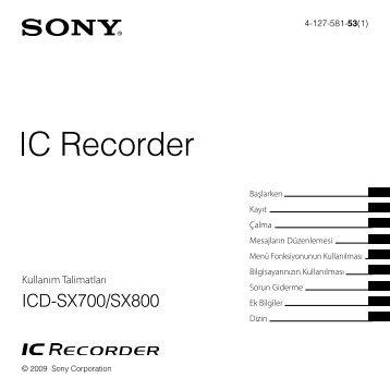 Sony ICD-SX800 - ICD-SX800 Consignes d'utilisation Turc
