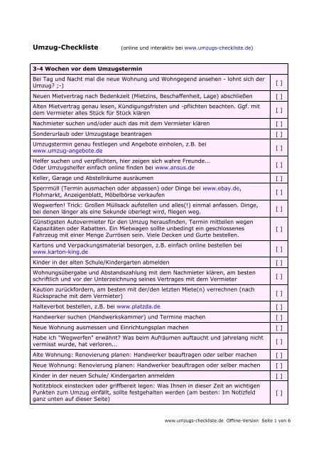 PDF - Umzug Checkliste