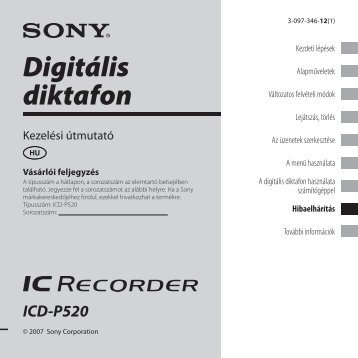 Sony ICD-P520 - ICD-P520 Consignes d'utilisation Hongrois