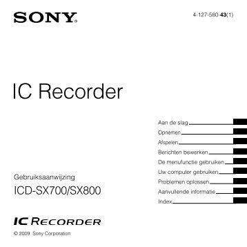 Sony ICD-SX700 - ICD-SX700 Consignes d'utilisation Néerlandais