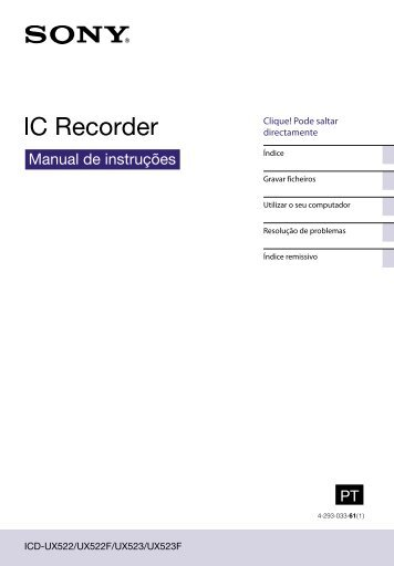 Sony ICD-UX523 - ICD-UX523 Consignes d'utilisation Portugais
