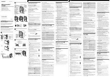 Sony M-850V - M-850V Consignes d'utilisation Anglais