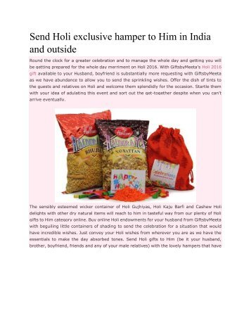 Send Holi exclusive hamper to Him in India and outside