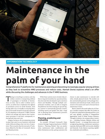 Maintenance in the palm of your hand